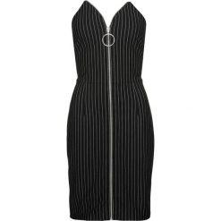 Sukienka z zamkiem z przodu bonprix czarno-biały w paski. Białe sukienki balowe bonprix, w paski, z żakardem. Za 149,99 zł.