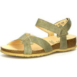 """Rzymianki damskie: Skórzane sandały """"Julia"""" w kolorze oliwkowym"""
