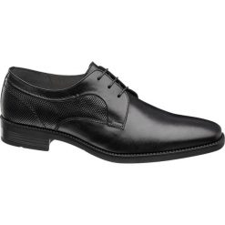 Eleganckie buty męskie AM SHOE czarne. Czarne buty wizytowe męskie AM SHOE, z materiału, na sznurówki. Za 139,00 zł.