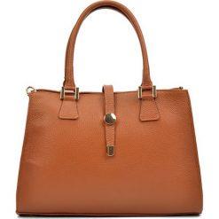 Torebki klasyczne damskie: Skórzana torebka w kolorze jasnobrązowym – (S)35 x (W)24 x (G)11 cm