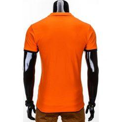 KOSZULKA MĘSKA POLO BEZ NADRUKU S758 - POMARAŃCZOWA. Brązowe koszulki polo marki Ombre Clothing, m, z nadrukiem. Za 29,00 zł.