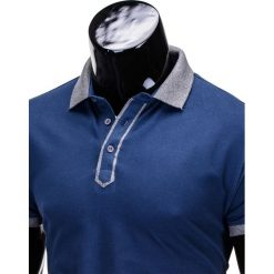 KOSZULKA MĘSKA POLO BEZ NADRUKU S663 - GRANATOWA. Czarne koszulki polo marki Ombre Clothing, m, z bawełny, z kapturem. Za 39,00 zł.