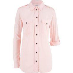 Bluzka koszulowa bonprix perłowy jasnoróżowy. Czerwone bluzki asymetryczne bonprix, z koszulowym kołnierzykiem. Za 49,99 zł.