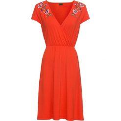 Sukienki: Sukienka kopertowa z dżerseju z koronką bonprix głęboki pomarańczowy