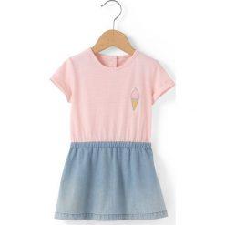 Krótka sukienka w paski. Niebieskie sukienki dziewczęce marki La Redoute Collections, w paski, z bawełny, z krótkim rękawem, krótkie, mini. Za 83,12 zł.