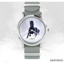 Zegarki męskie: Zegarek - Czarny koń - szary, nato