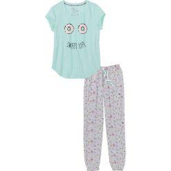 Piżamy damskie: Piżama bonprix miętowo-jasnoszary melanż z nadrukiem