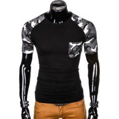 T-shirty męskie: T-SHIRT MĘSKI Z NADRUKIEM MORO S1013 - CZARNY/GRAFITOWY