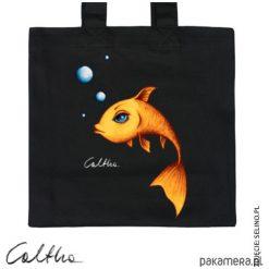Złota rybka - torba premium. Żółte shopper bag damskie Pakamera, z materiału. Za 79,00 zł.