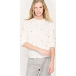 Bluza z okrągłym dekoltem, produkcji francuskiej. Białe bluzy damskie La Redoute Collections, l, z bawełny, z krótkim rękawem, krótkie. Za 109,20 zł.