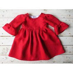 Czerwona Sukienka Lniana z rękawami. Czerwone sukienki dziewczęce marki Pakamera, wizytowe, długie. Za 130,00 zł.