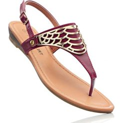 Sandały japonki bonprix bordowy. Czerwone klapki damskie marki Casu, w ażurowe wzory, na obcasie. Za 37,99 zł.