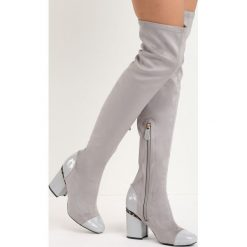Jasnoszare Kozaki Reach the Sky. Białe buty zimowe damskie marki Reserved, na wysokim obcasie. Za 99,99 zł.