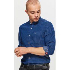 Koszula SLIM FIT - Granatowy. Niebieskie koszule męskie slim marki Cropp, l. Za 79,99 zł.