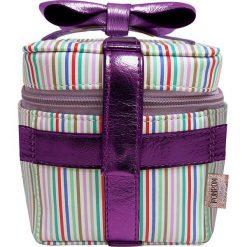 Kosmetyczki damskie: Kosmetyczka w kolorze fioletowym ze wzorem – 11 x 11 x 11 cm
