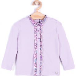 Koszulka. Fioletowe bluzki dziewczęce bawełniane marki bonprix, z nadrukiem. Za 29,90 zł.