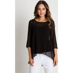 Bluzki asymetryczne: Szyfonowa czarna bluzka z krótkim rękawem BIALCON