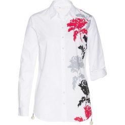 Bluzka z nadrukiem bonprix biało-różowy hibiskus z nadrukiem. Białe bluzki z odkrytymi ramionami bonprix, z nadrukiem. Za 74,99 zł.