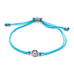 Bransoletka w kolorze turkusowym z kryształem Swarovski. Niebieskie bransoletki damskie z cyrkoniami Ania Kruk, srebrne. W wyprzedaży za 57,95 zł.