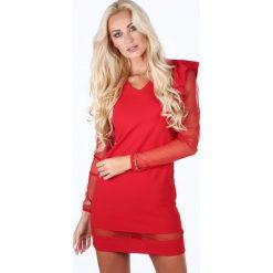 Sukienka z tiulowymi rękawami czerwona 1834. Czerwone sukienki marki Fasardi, l, z tiulu. Za 79,00 zł.