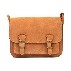 Torebki klasyczne damskie: Skórzana torebka w kolorze jasnobrązowym – (S)21 x (W)26 x (G)8 cm