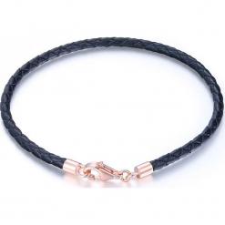 Skórzana bransoletka w kolorze czarno-różowozłotym. Czarne bransoletki damskie na nogę MAISON D'ARGENT, srebrne. W wyprzedaży za 56,95 zł.