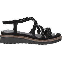 Rzymianki damskie: Skórzane sandały na koturnie Eda