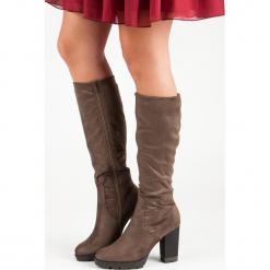 ZAMSZOWE KOZAKI NA PLATFORMIE. Czarne buty zimowe damskie marki Kazar, z futra, przed kolano, na wysokim obcasie, na koturnie. Za 115,00 zł.