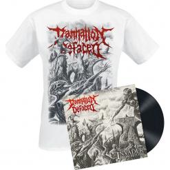 Damnation Defaced Invader from beyond LP + T-Shirt standard. Zielone t-shirty damskie marki Mohito, l, z wykładanym kołnierzem. Za 129,90 zł.