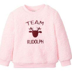 """Sweter z polaru """"baranka"""" bonprix pudrowy jasnoróżowy Rudolf. Czerwone swetry dziewczęce marki bonprix, z polaru, z okrągłym kołnierzem. Za 21,99 zł."""