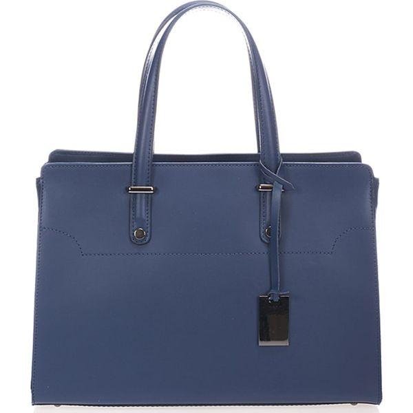 414303ee7ba3a Skórzana torebka w kolorze niebieskim - 35 x 25 x 15 cm - Niebieskie ...