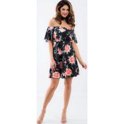 Sukienki hiszpanki: Czarna sukienka hiszpanka z chokerem w kwiatowe wzory TA6116