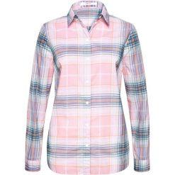 Bluzka z długim rękawem bonprix perłowy jasnoróżowy w kratę. Czerwone bluzki longsleeves marki OLAIAN, s, z materiału. Za 37,99 zł.