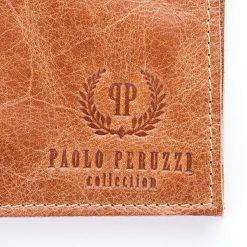 Portfele męskie: Męski skórzany portfel SLIM FRAZER Paolo Peruzzi Jasny brąz