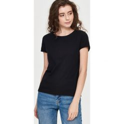 Gładki T-shirt - Czarny. Czarne t-shirty damskie marki Sinsay, l. Za 19,99 zł.