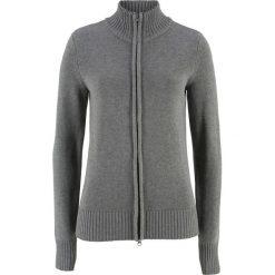 Sweter rozpinany bonprix szary melanż. Niebieskie golfy damskie marki bonprix, z nadrukiem. Za 74,99 zł.