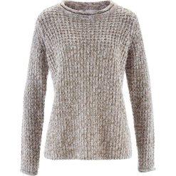 Swetry klasyczne damskie: Sweter bonprix zielony khaki melanż