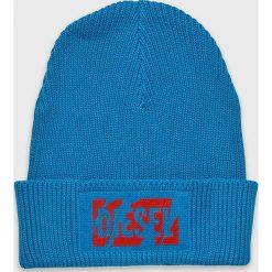 Diesel - Czapka. Szare czapki zimowe damskie Diesel, na zimę, z bawełny. Za 259,90 zł.
