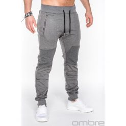 SPODNIE MĘSKIE DRESOWE P469 - GRAFITOWE. Szare spodnie dresowe męskie Ombre Clothing, z bawełny. Za 59,00 zł.