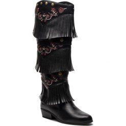 Kozaki DESIGUAL - Shoes Totem Gipsy Patch 18WSTP01 2000. Czarne buty zimowe damskie Desigual, z materiału, na obcasie. Za 599,90 zł.