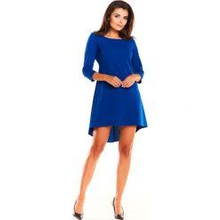 Niebieska Koktajlowa Asymetryczna Sukienka z Kontrą. Niebieskie sukienki asymetryczne Molly.pl, na co dzień, l, eleganckie, z asymetrycznym kołnierzem, z krótkim rękawem, mini. Za 128,90 zł.