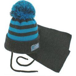 Czapka dziecięca z szalikiem CZ+S 035E niebiesko-szara r. 46-50. Niebieskie czapeczki niemowlęce Proman. Za 47,21 zł.