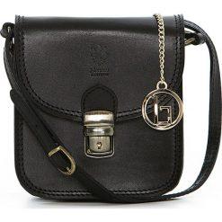 Torebki klasyczne damskie: Skórzana torebka w kolorze czarnym – 15 x 17 x 8 cm