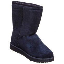 Skórzane botki w kolorze ciemnoniebieskim. Niebieskie buty zimowe damskie Carla Samuel, na zimę. W wyprzedaży za 149,95 zł.