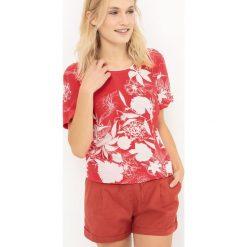 Bluzki damskie: Bluzka z nadrukiem, z dekoltem w serek i krótkim rękawem