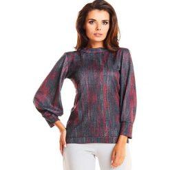 Czerwona Stylowa Wzorzysta Bluzka z Efektownym Rękawem. Czerwone bluzki asymetryczne Molly.pl, l, w kolorowe wzory, z dzianiny, biznesowe, z długim rękawem. Za 109,90 zł.
