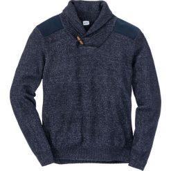 Sweter z szalowym kołnierzem Regular Fit bonprix ciemnoniebiesko-biel wełny melanż. Niebieskie swetry klasyczne męskie bonprix, m, melanż, z materiału, z kontrastowym kołnierzykiem. Za 89,99 zł.
