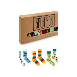 Kolorowe skarpetki - zestaw Spox Sox. Brązowe skarpetki męskie Spox sox, w kolorowe wzory, z bawełny. Za 120,00 zł.