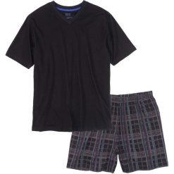 Bielizna męska: Piżama z krótkimi spodenkami bonprix czarny w kratę