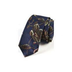 Krawat męski  JEDWAB KWIATY. Niebieskie krawaty męskie HisOutfit, w kwiaty, z jedwabiu. Za 129,00 zł.